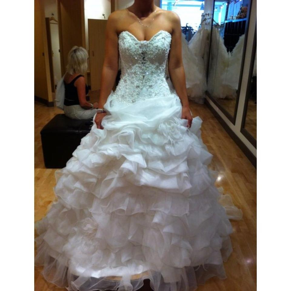 Allure Bridals White / Silver Organza Couture C170 Princess Ballgown ...