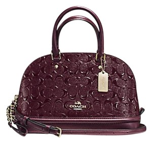 Coach Dome Black Leather Burgundy Embossed Satchel in oxblood