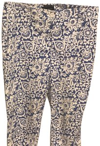 Talbots Relaxed Pants White & Blue Colored Print