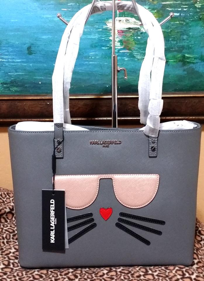 Karl Lagerfeld Maybelle Cat Face Tote Gray Leather Cross Body Bag