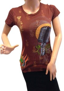 Christian Audigier T Shirt Brown