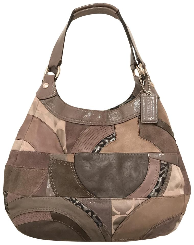 c45f33d793 Coach Maggie Patchwork Madison Rare F15462 Grey Multi Leather Shoulder Bag