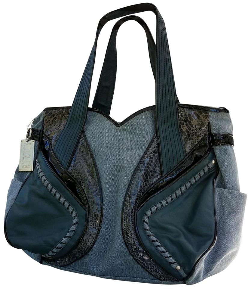Steven By Steve Madden Tote Denim Blue Black Teal Travel Bag