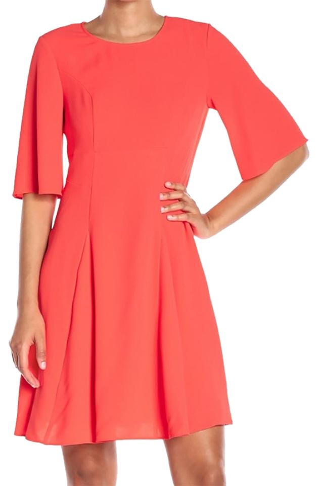 d4a79564c9b4 CeCe by Cynthia Steffe Coral New Pink Women's A-line Flutter-sleeve Sheath  Casual Dress