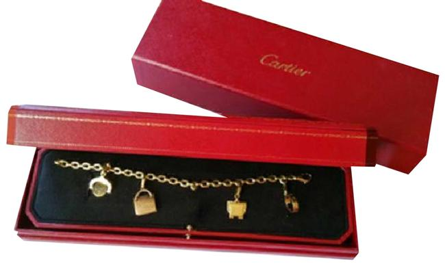 Cartier Gold Box With 4 Charms Bracelet Cartier Gold Box With 4 Charms Bracelet Image 1