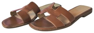 Herms Leather Oran Brown Sandals