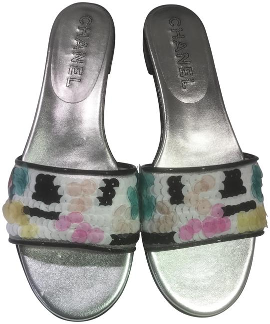 Item - White/Black/Multi 17s Patent Sequin Mesh Flat Slides Sandals Size EU 36 (Approx. US 6) Wide (C, D)