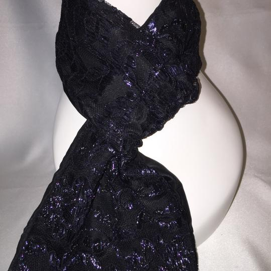 "Other Point d'Alencon Lace Scarf; ""Black Gleam"" [ Roxanne Anjou Closet ]"