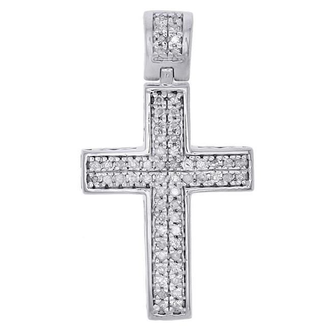 """Jewelry For Less Silver Real Diamond Cross Sterling 1.10"""" Dome Pendant 1/4 Ct. Charm Jewelry For Less Silver Real Diamond Cross Sterling 1.10"""" Dome Pendant 1/4 Ct. Charm Image 1"""
