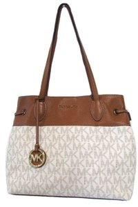 Michael Kors Signature East West Drawstring Leather Tote in Vanilla