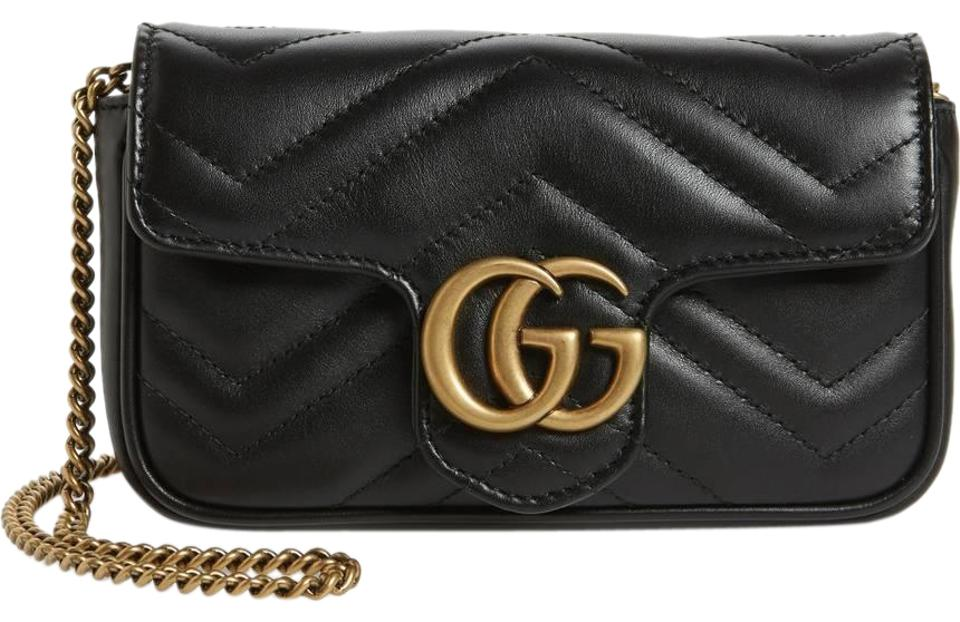 eb23034d6c3 Gucci Marmont Supermini Gg 2.0 Matelassé Black Leather Shoulder Bag ...