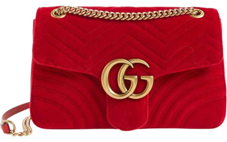 f4e4a57e82a5 Gucci Marmont Medium Gg 2.0 Matelassé Red Velvet Shoulder Bag - Tradesy