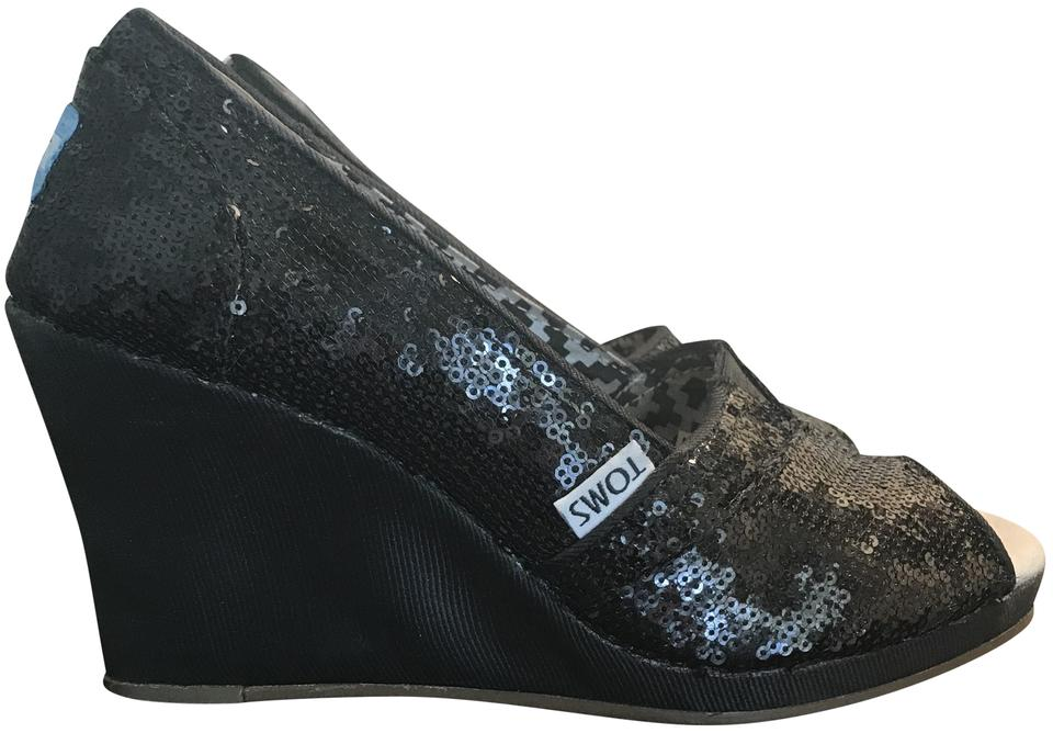 a1bc6717e119 TOMS Black Sequin Wedges Size US 6.5 Wide (C, D) - Tradesy