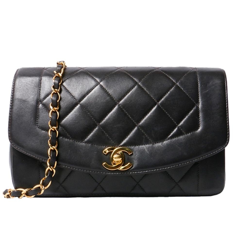 79520def5a44 Chanel Classic Flap Diana Vintage Quilted Small Black Lambskin ...