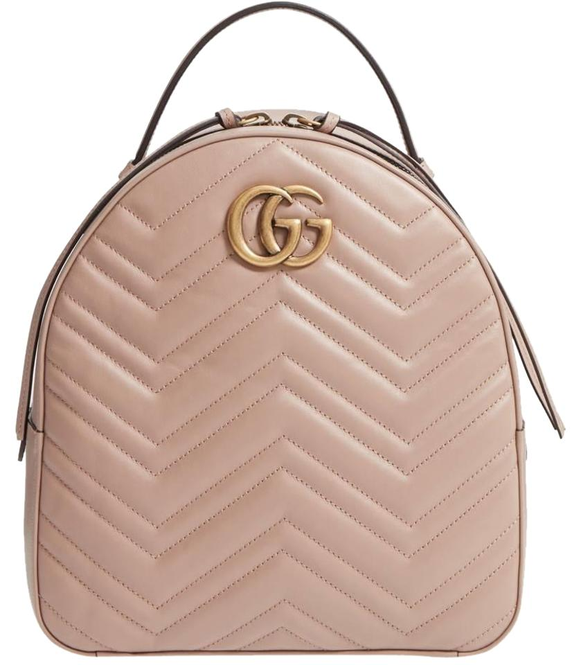 76222011a Gucci Marmont Gg Matelassé Quilted Pink Leather Backpack - Tradesy