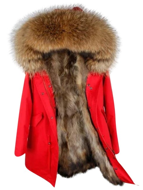 Item - Red and Tan Parka with Real Lining Coat Size 12 (L)