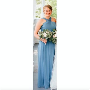 Slate Blue Chiffon Stella Modern Bridesmaid/Mob Dress Size 8 (M)