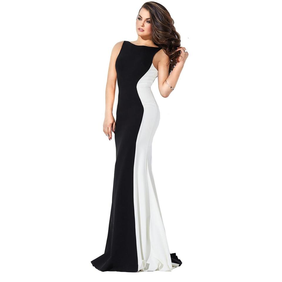 Jovani Black Jvn By B/W Colorblock Open Gown Long Formal Dress Size ...