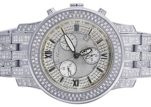 Joe Rodeo New Mens 2000 J2025 50MM Silver Dial S.Steel Diamond Watch 3.5 Ct