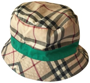 Burberry Authentic Burberry OF London Unisex Reversible Bucket Hat Plaid & Green
