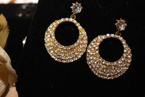 Bella Tiara Dazzling Gold Hoop Style Rhinestone Prom Earrings