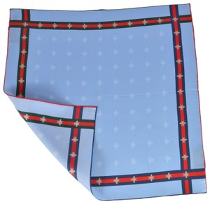 Gucci New Gucci Men's Silk Bee Pattern Red Green Web Square Pocket Scarf