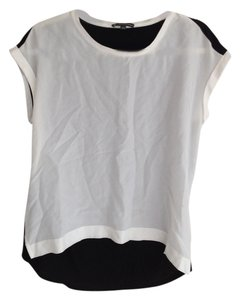 Adrianna Papell 100% Silk Top white and black