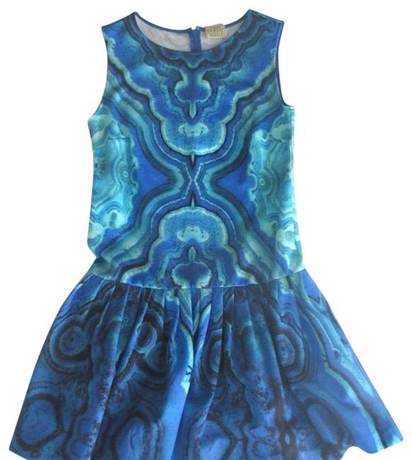 Item - Blue/Turquoise Scuba Fit & Flare Fabric Stretch Short Casual Dress Size 0 (XS)