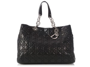Dior Cd.l1211.02 Cannage Quilted Silver Hardware Charm Tote in Black