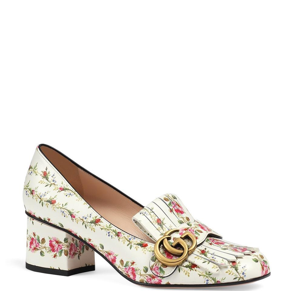 f55202f8318 Gucci White Marmont New Fringe Rose Floral Print Ivory Leather 55mm ...