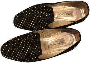 Jimmy Choo Suede Studded Black Flats
