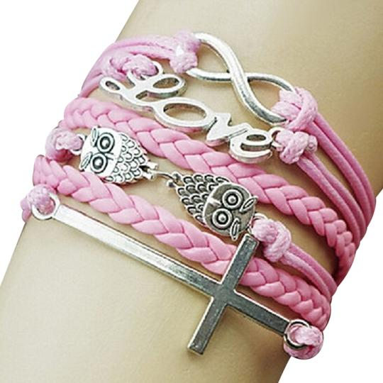 Other Multilayer Wrap Love Cross Infinity Pink Leather Bracelet