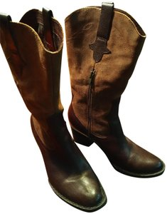 Børn Never Been Western Cowboy Style High Style Leather Brown and Tan Boots