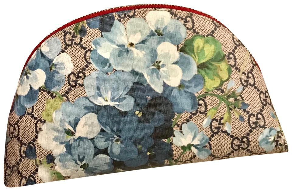 85a1268ab63bb Gucci Blue Gg Supreme Monogram Large Blooms Pouch Cosmetic Bag - Tradesy