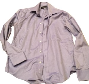 Bloomingdale's Button Down Shirt blue and white