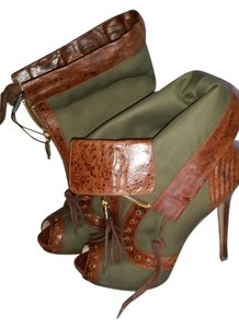 Alexander McQueen military green and brown Boots