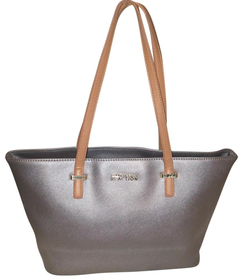 Kenneth Cole Extra Large Leather Tote In Silver Metallic