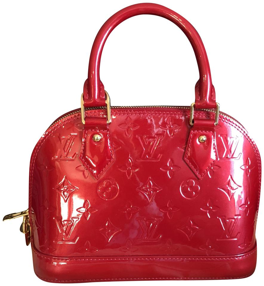 a446db8d50f5f4 Louis Vuitton Alma Bb Pomme D'amour Vernis Red Patent Leather Satchel
