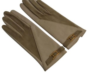 "Hermès HERMES ""H"" Leather Gloves Size 6.5 Gold-Plated Details"