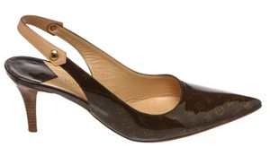 Louis Vuitton Sling Back Pointed Toe Monogram Italian brown Pumps