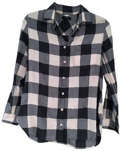 d2594347 J.Crew Grey Plaid Flannel Shirt Button-down Top Size 6 (S) - Tradesy