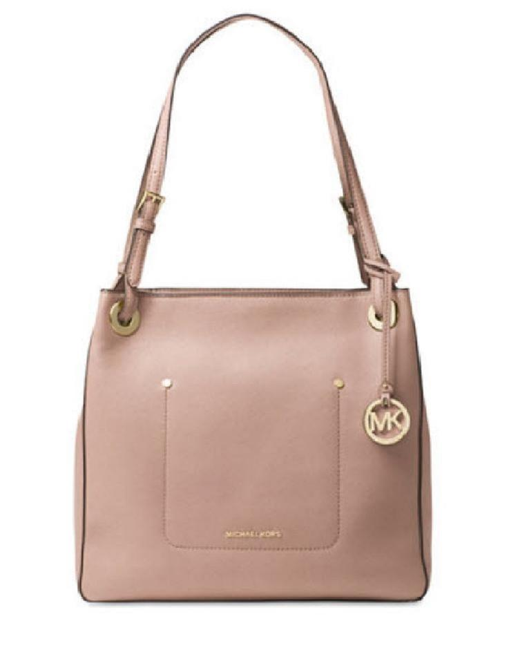 Michael Kors Walsh Shoulder Zip Satchel Tote in Fawn Light Pink Blush Image  0 ... 071b53e416e41