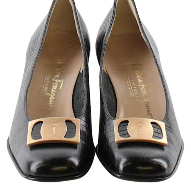 Item - Dark Brown Matte Gold Buckle Embossed Leather Flats Size US 8.5 Narrow (Aa, N)