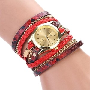 Multi Wrap Around Woven Leather Leopard Grain Fashion Bracelet Watch