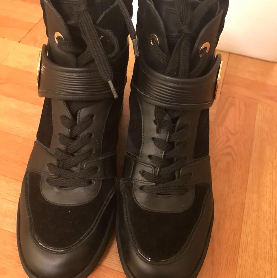 62bff39a52eb Louis Vuitton Black Lv Women Noir Wedge Canvas Leather Sneakers  Boots Booties Size EU 39 (Approx. US 9) Regular (M