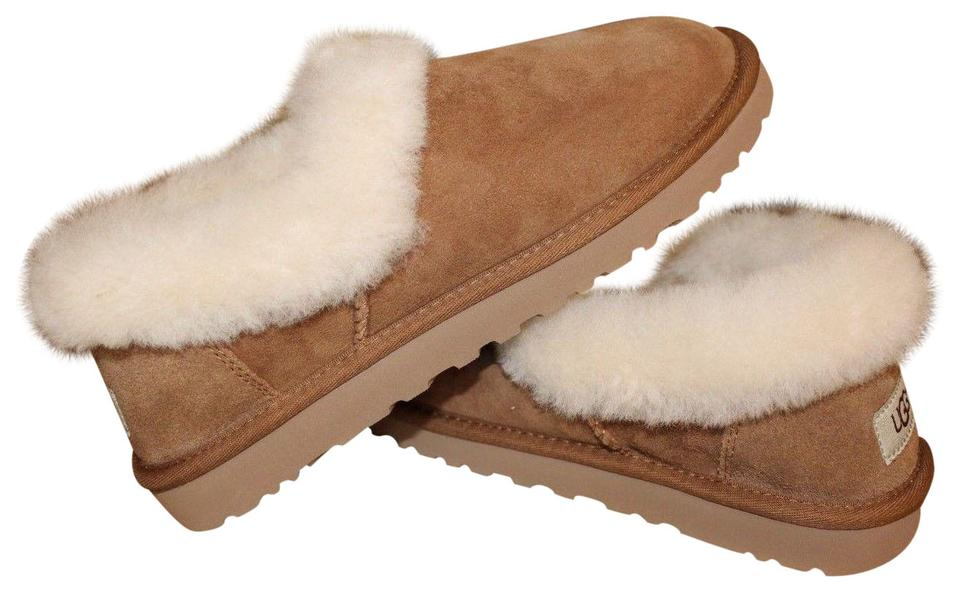 b587fba0610a UGG Australia Chestnut Brown Nita Suede Shearling Loafer Slipper Flats