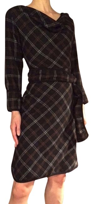 Item - Black Plaid Cowl Neck Wool Mid-length Work/Office Dress Size 0 (XS)