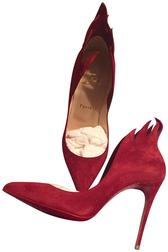 Christian Louboutin Red Victorina 39.5 Flame Suede Heels 100 Carmin 39.5 Victorina Pumps 300125