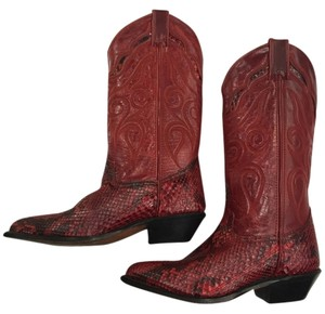 Code West Red With Black Snake Print Boots
