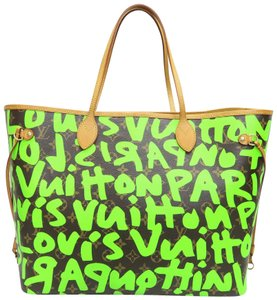 Louis Vuitton Lv Monogram Graffiti Neverfull Green Shoulder Bag